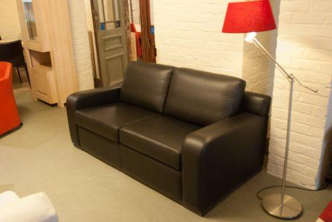 2-zit zetel in zwart leder