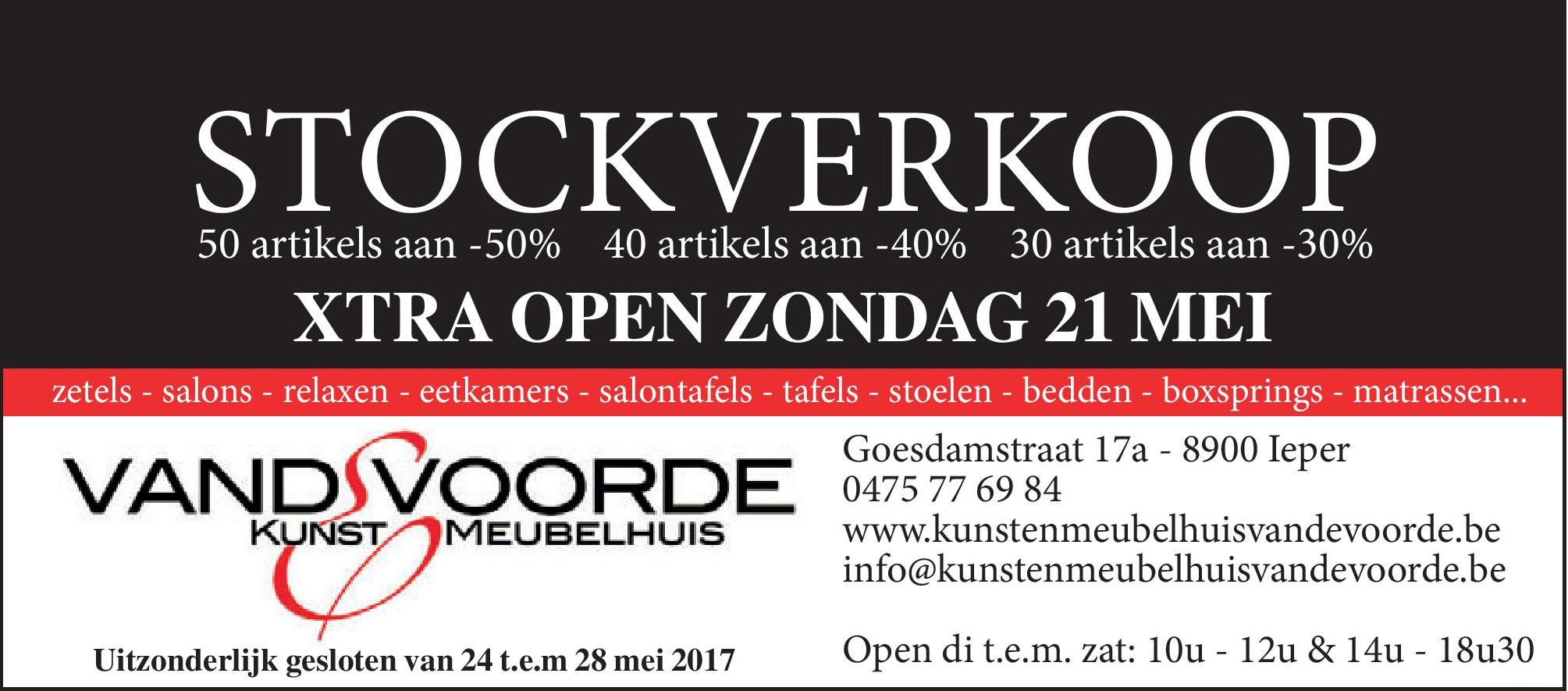 Stockverkoop in Meubelhuis Vandevoorde