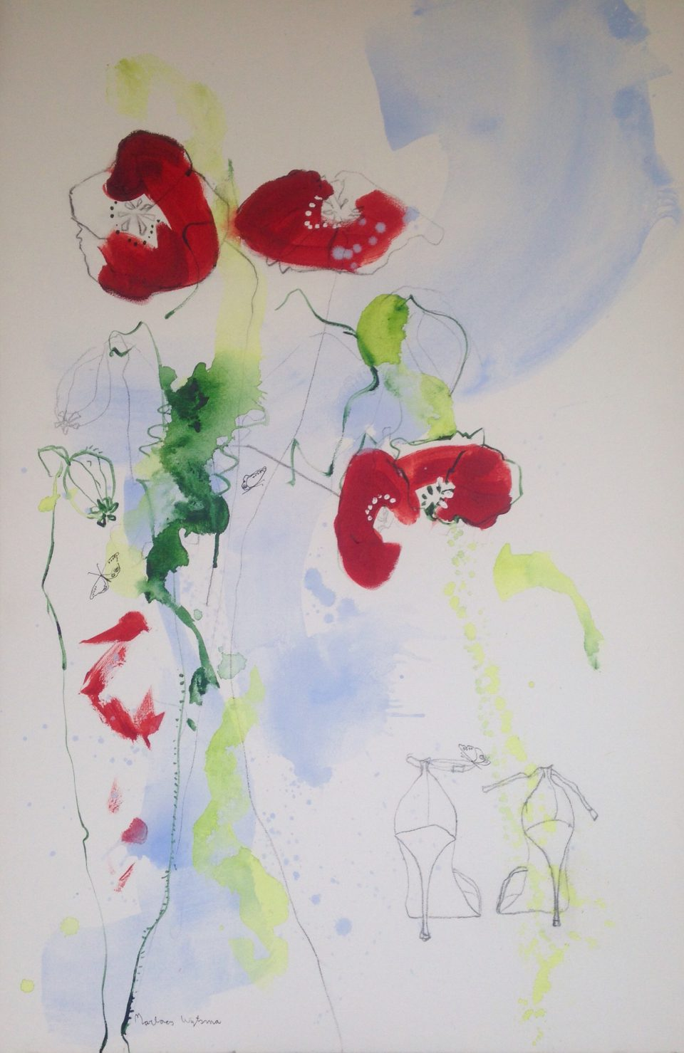 poppies and heels 60x90